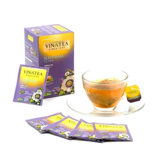 Combo 2 hộp trà vinatea trà ngủ ngon ++ túi lọc 40g thuộc dòng trà thảo mộc giúp cải thiện giấc ngủ, giảm stress