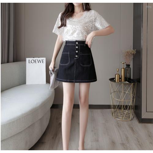 Chân váy jean nữ eo cao đính cúc thời trang dễ thương - 12697236 , 20572109 , 15_20572109 , 620000 , Chan-vay-jean-nu-eo-cao-dinh-cuc-thoi-trang-de-thuong-15_20572109 , sendo.vn , Chân váy jean nữ eo cao đính cúc thời trang dễ thương