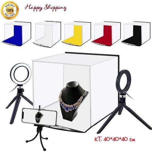 Hộp chụp ảnh sản phẩm, hộp studio 40*40*40 cm kèm 5 phông nền, hộp chụp ảnh mini gấp gọn tiện lợi