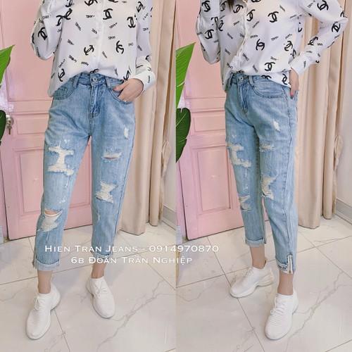 Quần baggy jeans nữ trơn rách gối