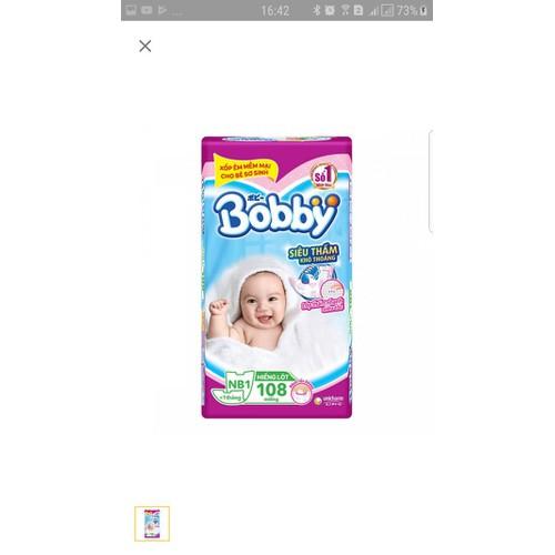 Set 108 miếng lót bobby newborn 1 tặng 9 tã dán xs
