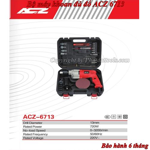 Bộ máy khoan đa năng và phụ kiện chính hãng acz model 6713-bộ máy khoan gia đình