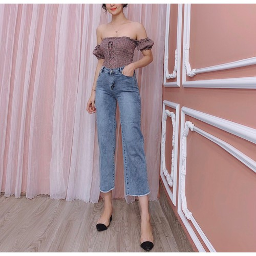 Quần baggy jeans ống rộng nữ