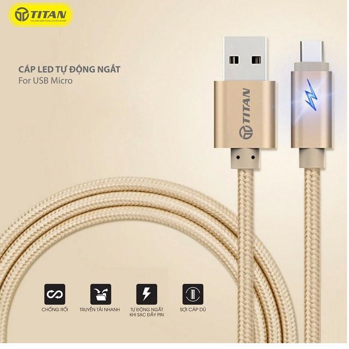 Cáp Micro USB Led tự ngắt 3M Titan CM22 – Hàng chính hãng