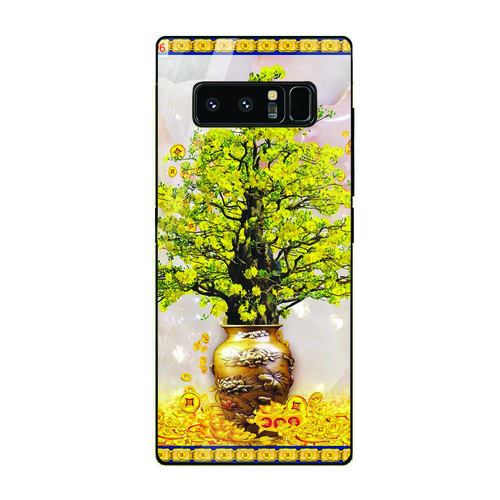 Ốp điện thoại kính cường lực cho máy Samsung Galaxy Note 8 - Tranh Mai Đào MS MDAO006