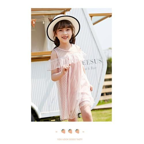 Đầm tiểu thư cao cấp tay rớt vai kiểu hàn quốc - váy đầm thiết kế cao cấp bé gái 7-12 tuổi