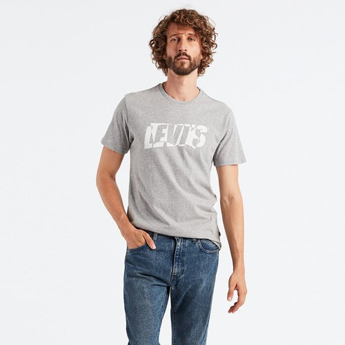 Áo thun nam levis housemark graphic tee - grey, size s