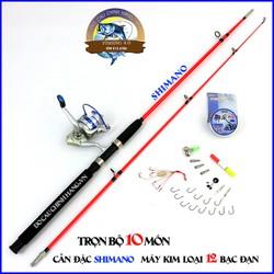 bộ cần câu đặc 2 khúc shimano kèm máy câu cá yumoshi AL trọn bộ 10 món 1m65 2m1 1m8 2m4 2m7