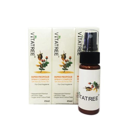 Xịt kháng khuẩn giảm đau họng keo ong vitatree 25ml úc