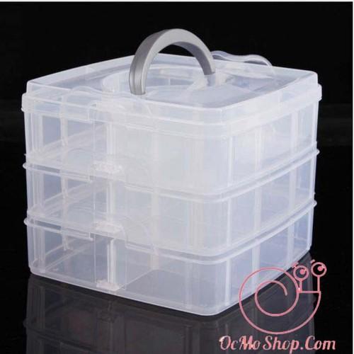 Hộp nhựa đựng phụ kiện trang sức 3 tầng 18 ngăn tiện dụng