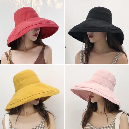 Mũ vải rộng vành chống nắng đi biển có dây rút - phong cách hàn quốc