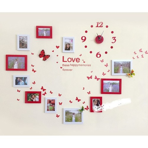 Khung ảnh treo tường trang trí phòng cưới gồm 11 khung kèm đồng hồ và decal dán tường - 12281939 , 20632214 , 15_20632214 , 340000 , Khung-anh-treo-tuong-trang-tri-phong-cuoi-gom-11-khung-kem-dong-ho-va-decal-dan-tuong-15_20632214 , sendo.vn , Khung ảnh treo tường trang trí phòng cưới gồm 11 khung kèm đồng hồ và decal dán tường