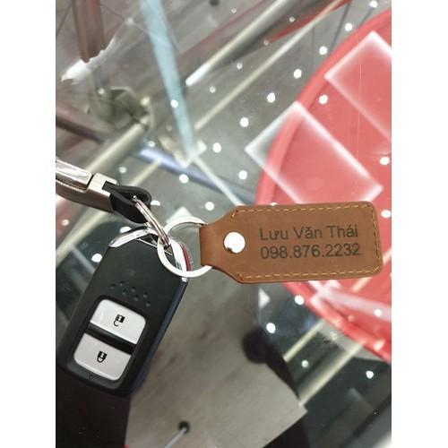 Thẻ da khắc tên móc chìa khóa