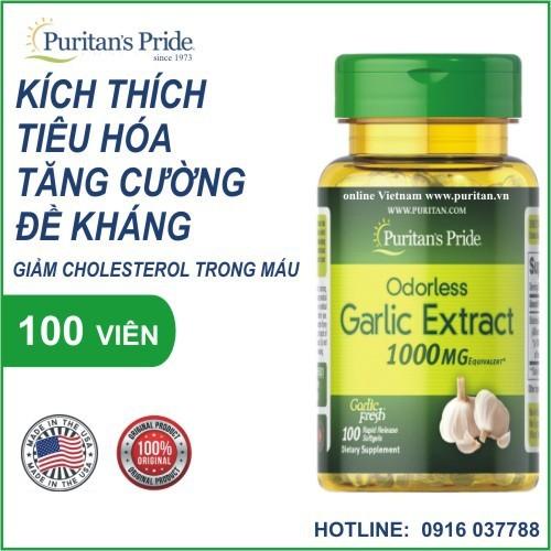 Dầu tỏi tăng cường miễn dịch, tốt cho tim mạch, giảm cholesterol - puritan
