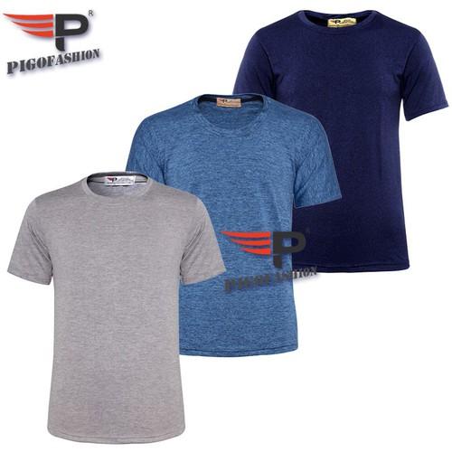 Bộ 3 áo thun nam cổ tròn pigofashion thể thao gym gm02 -5- xám nhạt, vịt, xanh đen