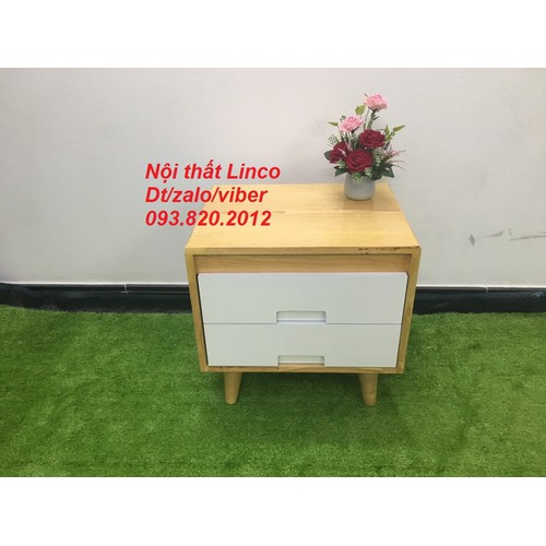 Pn1-Kệ tủ đầu giường phòng ngủ gỗ cao su có hộc kéo