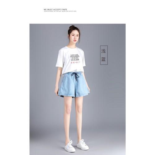 Quần short jean nữ ống rộng chun eo