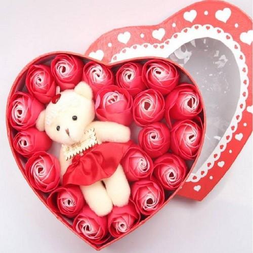 Quà tặng hộp hoa sáp thơm hình trái tim kèm gấu dễ thương- hoa1 - 13404156 , 21620682 , 15_21620682 , 150000 , Qua-tang-hop-hoa-sap-thom-hinh-trai-tim-kem-gau-de-thuong-hoa1-15_21620682 , sendo.vn , Quà tặng hộp hoa sáp thơm hình trái tim kèm gấu dễ thương- hoa1