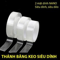 Băng Keo Dẻo 2 Mặt Nano trong suốt, Dán trên mọi bề mặt siêu dính