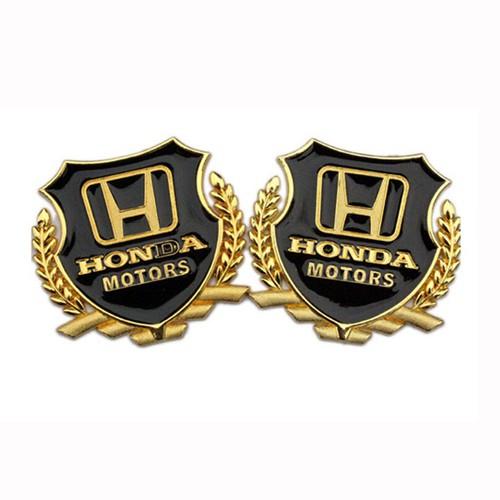 Bộ 2 logo bông lúa nổi trang trí dành cho các loại xe ô tô - honda