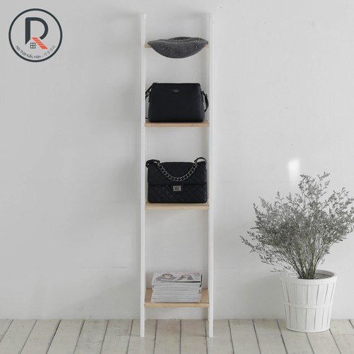 Kệ sách hàn quốc 4 tầng size s màu trắng phối gỗ - a book 4fs white natural- nội thất kiểu hàn - 가장자리