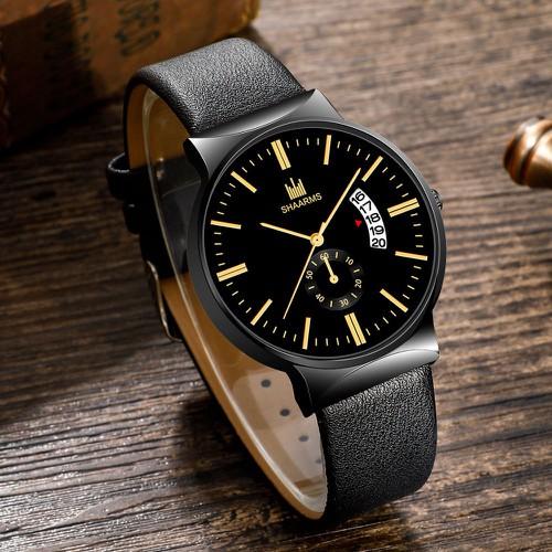 Đồng hồ nam shaarms s888 có lịch ngày dây da cao cấp phong cách lịch lãm