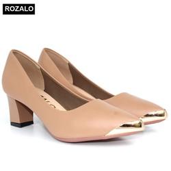 Giày cao gót vuông 5P mũi nhọn bọc thép Rozalo R5585