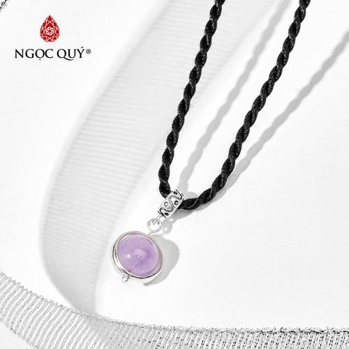 Mặt dây chuyền đá thạch anh tím ngọc phối bạc 925 hạt 12mm - ngọc quý gemstones