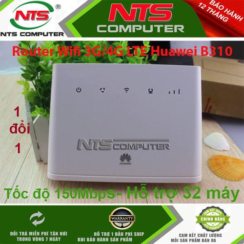 Router wifi 3g-4g lte huawei b310-22 tốc độ 150mbps hỗ trợ 1 wan-lan, hỗ trợ 32 kết nối