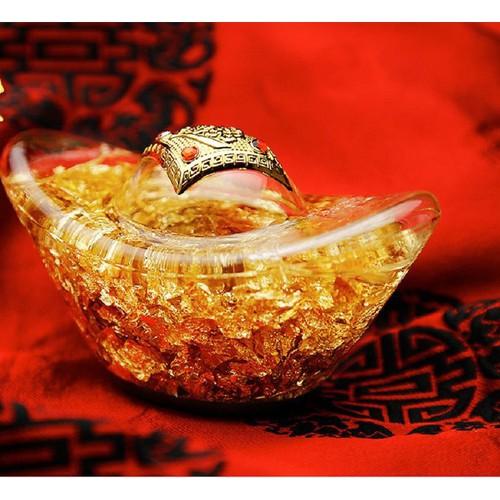 Thỏi vàng pha lê phong thủy mang lại may mắn - buôn may bán đắt