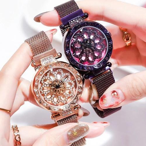 Đồng hồ nữ dây khóa nam châm - mặt xoay 360 độ - 086