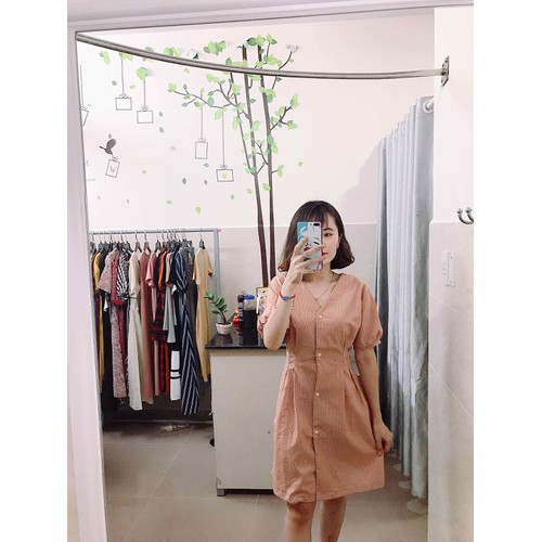 Đầm caro hồng