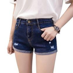 Quần short nữ Quần đùi nữ ngang gối jean lưng cao co giãn