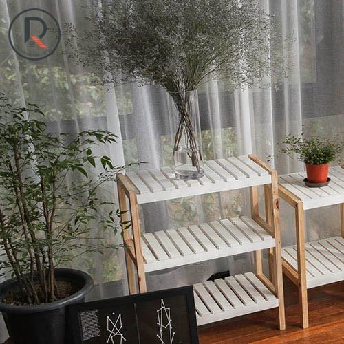 Kệ giày dép 3 tầng size s màu trắng phối gỗ - bench 3fs white natural - nội thất kiểu hàn - 가장자리