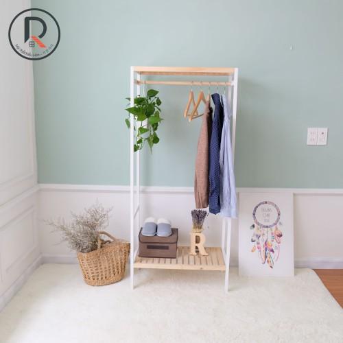 Kệ treo quần áo 2 tầng màu trắng phối gỗ - shelf hanger 2f white natural - nội thất kiểu hàn - 가장자리