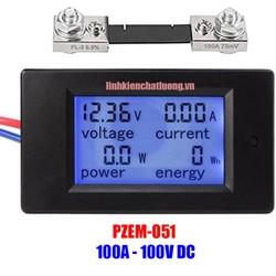 Đồng hồ đo điện DC PZEM-051 100A 100V 4 thông số kèm trở Shunt