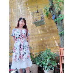 [SIÊU SALE]  Đầm voan chiffon hoa Hồng 2 lớp size M, L, XL , 40-70kg thiết kế cao cấp bẹt vai,eo thun