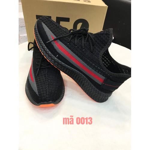 Giày sneaker thể thao nam đen viền hông xám đỏ đế cam mã b-25 vđ