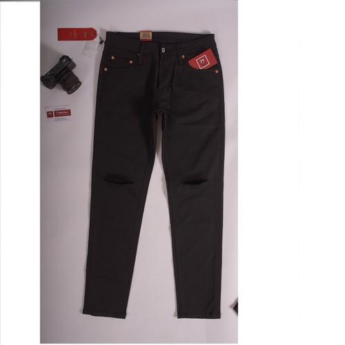 Quần jeans nam đen trơn rách gối xuất dư