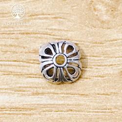 Phụ kiện bạc chụp hạt, bọc hạt họa tiết hoa văn 10mm - NQ Jewelry