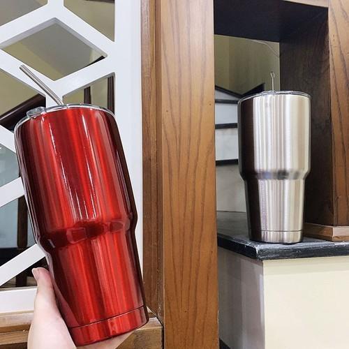 Bình giữ nhiệt - ly giữ nhiệt - cốc giữ nhiệt inox dung tích 900ml tặng kèm túi và ống hút