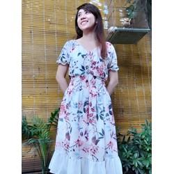 [SIÊU SALE] Tặng kèm kẹp ngọc trai- Đầm voan chiffon hoa Hồng 2 lớp  size M, L, XL , 40-70kg thiết kế cao cấp bẹt vai,eo thun