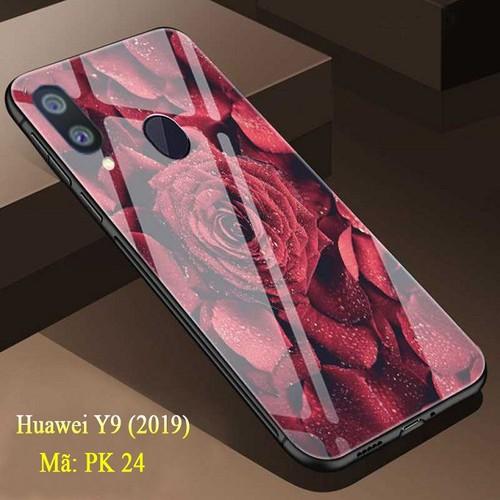 Ốp lưng huawei y9 mặt kính cường lực 3d hoa hồng