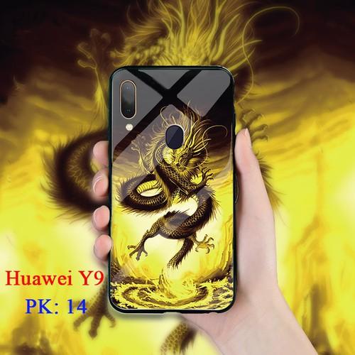 Ốp lưng huawei y9 mặt kính cường lực 3d rồng vàng