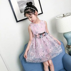 váy  Công  chúa đai hoa hồng  siêu xinh cho bé
