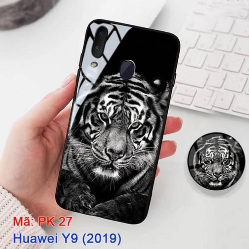Ốp lưng huawei y9 mặt kính cường lực 3d mặt hổ