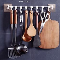 Móc treo đồ dán tường thông minh inox , 8 móc RE0559- giá treo đồ nhà bếp- kệ nhà bếp dán tường 8 móc- móc treo