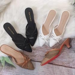 Giày Nữ, Giày cao gót bít mũi nhọn cao 5cm, phối lưới