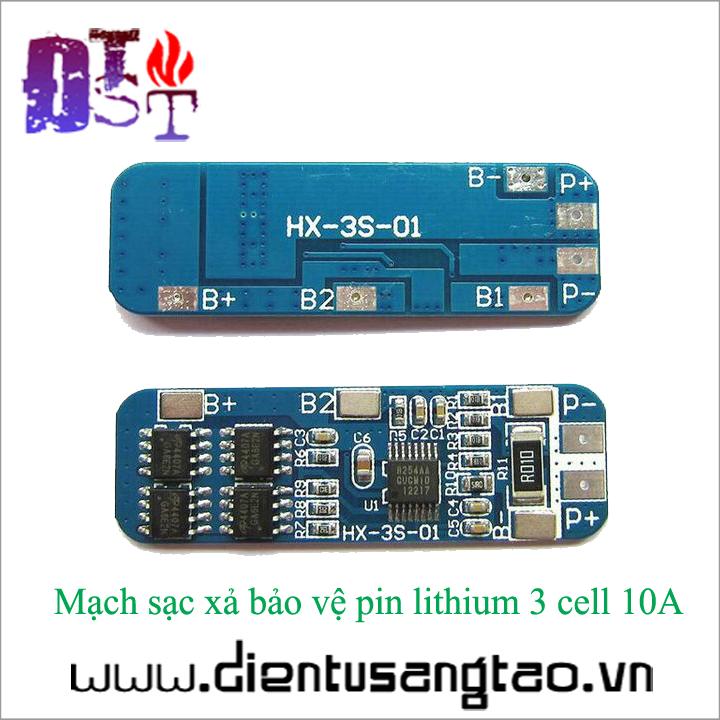 Mạch sạc xả bảo vệ pin lithium 3 cell 10A