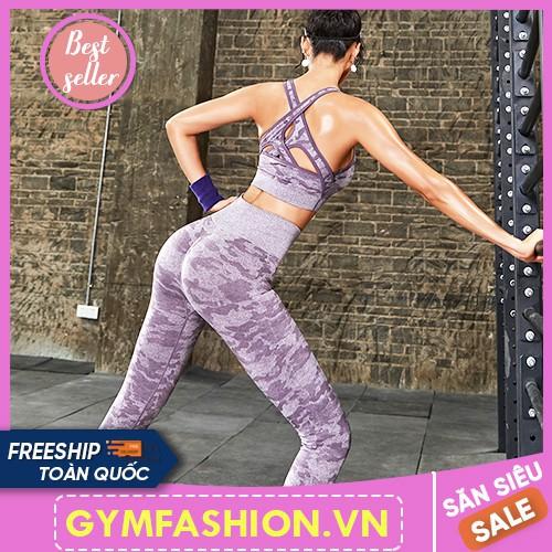 Bộ đồ tập gym nữ camo cao cấp phong cách âu mỹ tập gym yoga và các môn thể thao gymfashion vn